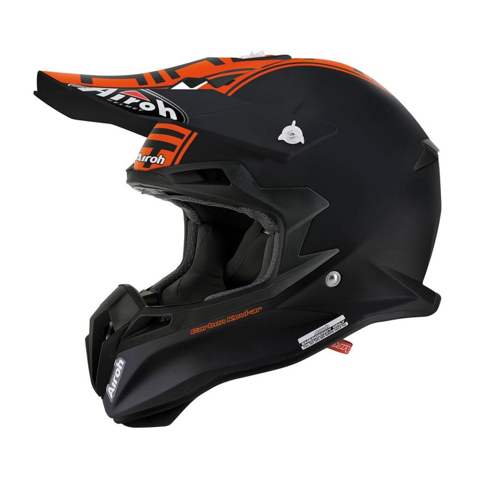 casco moto cross enduro airoh terminator 2 1 in fibra nero opaco arancio ebay. Black Bedroom Furniture Sets. Home Design Ideas